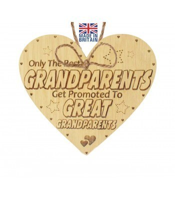 Laser Cut Oak Veneer 'Only The Best Grandparents Get Promoted To Great Grandparents' Engraved Mini Heart Plaque
