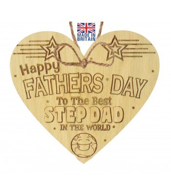 Laser Cut Oak Veneer 'Happy Fathers Day To The Best Step Dad In The World' Engraved Mini Heart Plaque