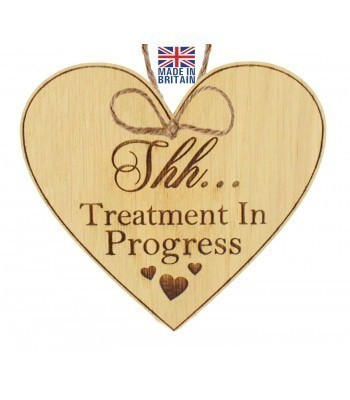 Laser Cut Oak Veneer 'Shh... Treatment In Progress ' Engraved Mini Heart Plaque