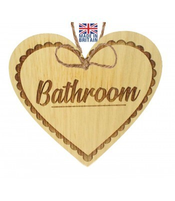 Laser Cut Oak Veneer 'Bathroom' Engraved Mini Heart Plaque