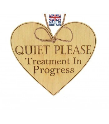 Laser Cut Oak Veneer 'Quiet Please Treatment In Progress' Engraved Mini Heart Plaque