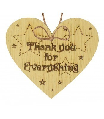 Laser Cut Oak Veneer 'Thank you for Everything' Engraved Mini Heart Plaque