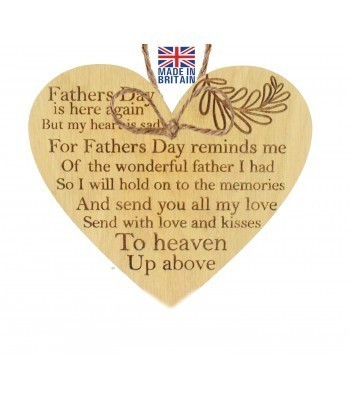 Laser Cut Oak Veneer 'Fathers Day is here again But my heart is sad. For Fathers Day reminds me of the wonderful father I had...' Engraved Mini Heart Plaque