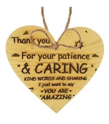 Laser Cut Oak Veneer 'Thank you for your patience & caring...' Engraved Mini Heart Plaque