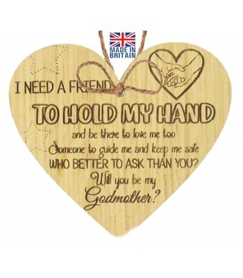 Laser Cut Oak Veneer 'I need a friend. To hold my hand and be there to love me too. Someone to guide me...' Engraved Mini Heart Plaque