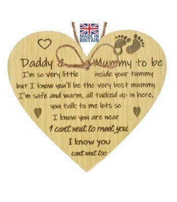 Laser Cut Oak Veneer 'Daddy & Mummy to be. I'm so very little inside your tummy...' Engraved Mini Heart Plaque