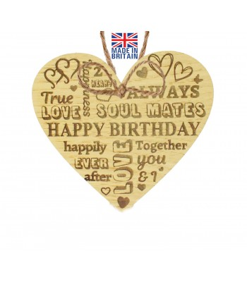 Laser Cut Oak Veneer 'Happy Birthday' Love Word Collage Engraved Mini Heart Plaque