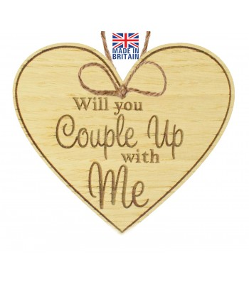Laser Cut Oak Veneer 'Will you couple up with me' Engraved Mini Heart Plaque