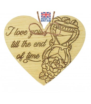 Laser Cut Oak Veneer 'I love you till the end of time' Engraved Mini Heart Plaque