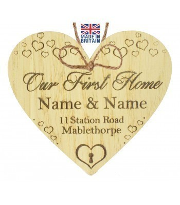 Laser Cut Personalised Oak Veneer 'Our First Home' Engraved Mini Heart Plaque