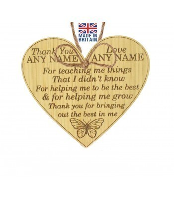 Laser Cut Personalised Oak Veneer 'Thank You for teaching me things that I didn't know...' Engraved Mini Heart Plaque