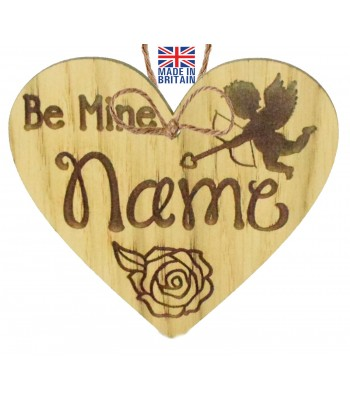 Laser Cut Personalised Oak Veneer 'Be Mine' Engraved Mini Heart Plaque with Cupid