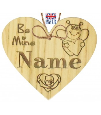 Laser Cut Personalised Oak Veneer 'Be Mine' Engraved Mini Heart Plaque with Bee