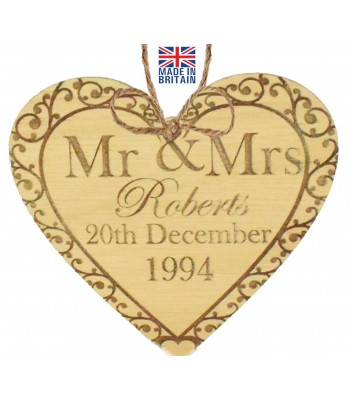 Laser Cut Personalised Oak Veneer 'Mr & Mrs' Engraved Mini Heart Plaque with Surname & Date