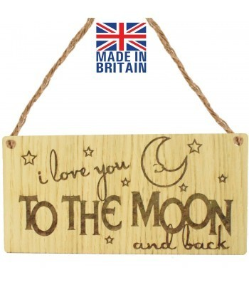 Laser Cut Oak Veneer 'I love you to the moon and back' Engraved Mini Plaque