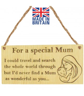 Laser Cut Oak Veneer 'For a special Mum. I could travel and search the whole world through...' Engraved Mini Plaque