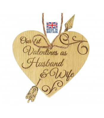 Laser Cut Oak Veneer 'Our 1st Valentines as Husband & Wife' Engraved Mini Heart Plaque