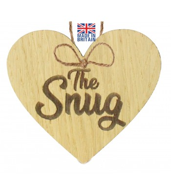 Laser Cut Oak Veneer 'The Snug' Engraved Mini Heart Plaque