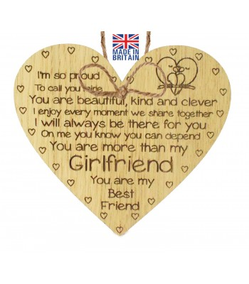 Laser Cut Oak Veneer 'I'm so proud To call you mine. You are beautiful kind and clever...' Engraved Mini Heart Plaque