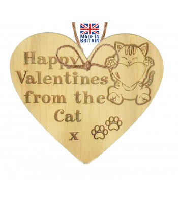 Laser Cut Oak Veneer 'Happy Valentines from the Cat x' Engraved Mini Heart Plaque