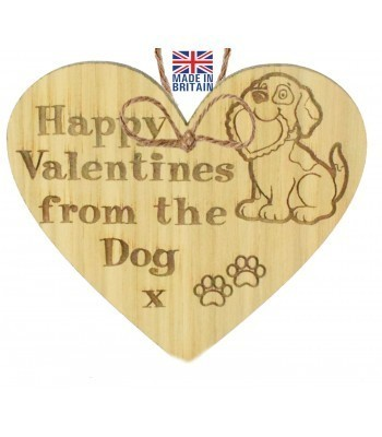 Laser Cut Oak Veneer 'Happy Valentines from the Dog x' Engraved Mini Heart Plaque