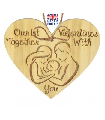 Laser Cut Oak Veneer 'Our 1st Valentines Together With You' Engraved Mini Heart Plaque