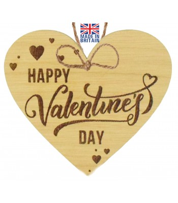 Laser Cut Oak Veneer 'Happy Valentine's Day' Engraved Mini Heart Plaque