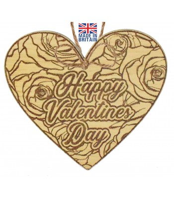 Laser Cut Oak Veneer 'Happy Valentines Day' Engraved Mini Heart Plaque with Detailed Rose Background