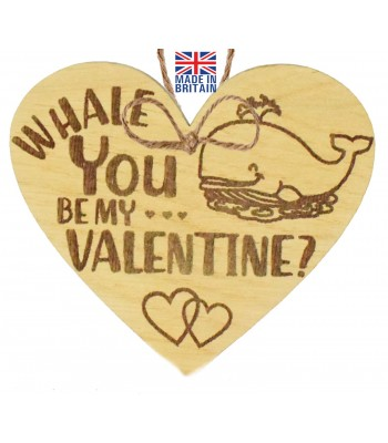 Laser Cut Oak Veneer 'Whale You Be My Valentine?' Engraved Mini Heart Plaque