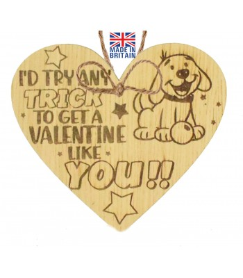 Laser Cut Oak Veneer 'I'd Try Any Trick To Get A Valentine Like You!!' Engraved Mini Heart Plaque