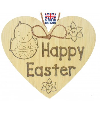 Laser Cut Oak Veneer 'Happy Easter' Engraved Mini Heart Plaque with Easter Chick