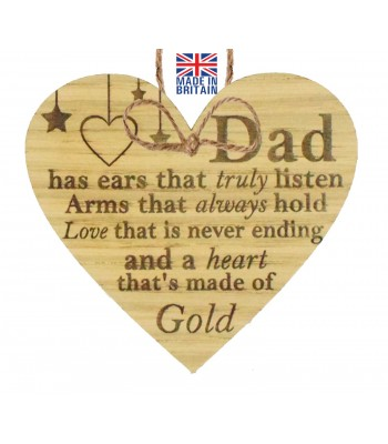 Laser Cut Oak Veneer 'Dad has ears that truly listen. Arms that always hold...' Engraved Mini Heart Plaque