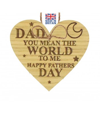 Laser Cut Oak Veneer 'Dad you mean the world to me. Happy Fathers Day' Engraved Mini Heart Plaque