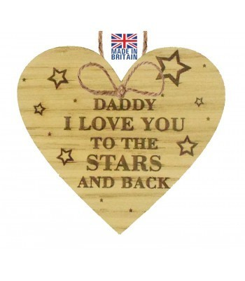 Laser Cut Oak Veneer 'Daddy I love you to the stars and back' Engraved Mini Heart Plaque