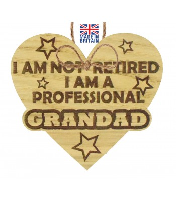 Laser Cut Oak Veneer 'I am not retired. I am a professional Grandad' Engraved Mini Heart Plaque