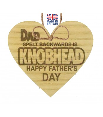 Laser Cut Oak Veneer 'Dad spelt backwards is Kn*bhead. Happy Father's Day' Engraved Mini Heart Plaque