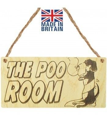 Laser Cut Oak Veneer 'The Poo Room' Engraved Mini Plaque