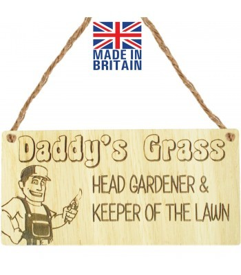Laser Cut Oak Veneer 'Daddy's Grass. Head Gardener & Keeper Of The Lawn.' Engraved Mini Plaque
