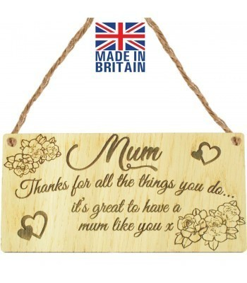 Laser Cut Oak Veneer 'Mum. Thanks for all the things you do... it's great to have a mum like you x' Engraved Mini Plaque
