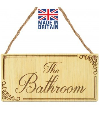 Laser Cut Oak Veneer 'The Bathroom' Engraved Mini Plaque