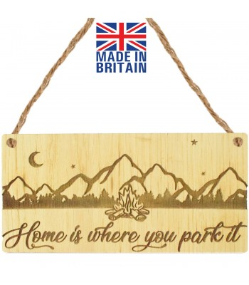 Laser Cut Oak Veneer 'Home is where you park it' Engraved Mini Plaque