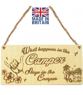 Laser Cut Oak Veneer 'What happens in the Camper. Stays in the Camper' Engraved Mini Plaque