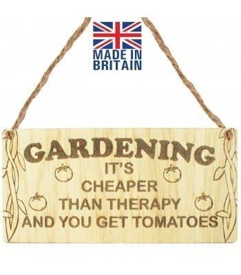 Laser Cut Oak Veneer 'Gardening. It's cheaper than therapy and you get tomatoes' Engraved Mini Plaque