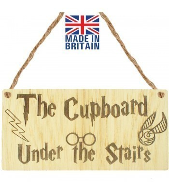 Laser Cut Oak Veneer 'The Cupboard Under The Stairs' Engraved Mini Plaque