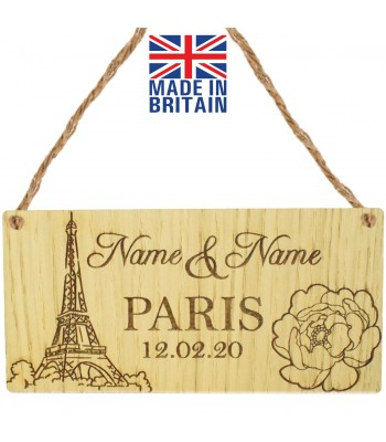 Laser Cut Personalised Oak Veneer 'Paris' with Two Names & Date Engraved Mini Plaque
