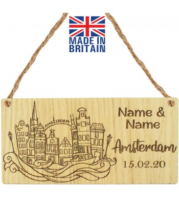 Laser Cut Personalised Oak Veneer 'Amsterdam' with Two Names & Date Engraved Mini Plaque