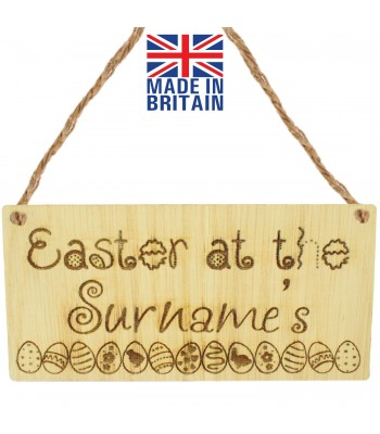 Laser Cut Personalised Oak Veneer 'Easter at the...' Engraved Mini Plaque with Easter Eggs in a row