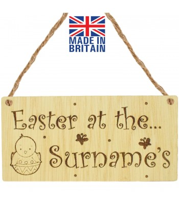 Laser Cut Personalised Oak Veneer 'Easter at the...' Engraved Mini Plaque with Easter Chick