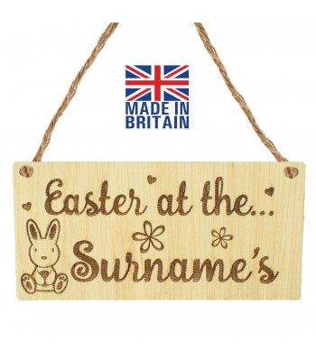Laser Cut Personalised Oak Veneer 'Easter at the...' Engraved Mini Plaque with Easter Rabbit