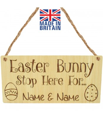 Laser Cut Personalised Oak Veneer 'Easter Bunny Stop Here For...' Engraved Mini Plaque with Easter Eggs